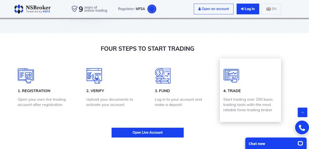 NSBroker Reviews - Steps To Start Trading
